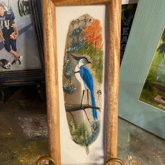 Vintage hand painted feather art bluebird